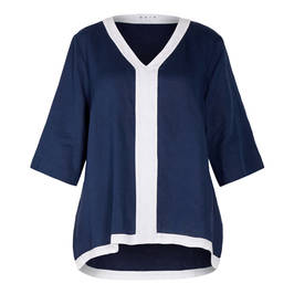 GAIA 100% LINEN TUNIC NAVY AND WHITE  - Plus Size Collection