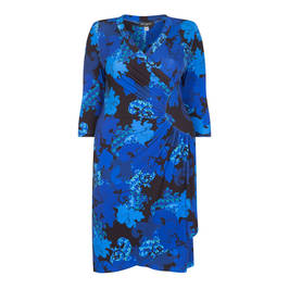 Georgedé BLUE PRINT DRESS RUCHED - Plus Size Collection