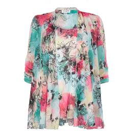 Georgedé PASTEL FLORAL PRINT JACKET AND VEST TWINSET - Plus Size Collection
