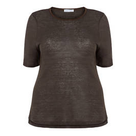 PER TE BY KRIZIA ROUND NECK TOP WITH LINEN LEOPARD DETAIL - Plus Size Collection