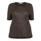 PER TE BY KRIZIA ROUND NECK TOP WITH LINEN LEOPARD DETAIL