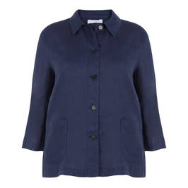 LUISA VIOLA NAVY LINEN JACKET - Plus Size Collection