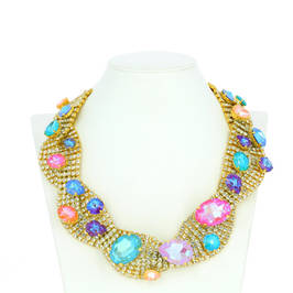 DIAMANTE AND CANDY COLOUR SWAROVSKI CRYSTAL NECKLACE - Plus Size Collection