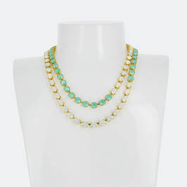 TWO STRAND SWAROVSKI CRYSTAL NECKLACE SAGE AND WHITE - Plus Size Collection