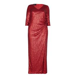 BEIGE LABEL RED SEQUINED GOWN WITH THREE QUARTER SLEEVES - Plus Size Collection
