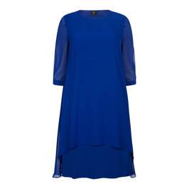 KIRSTEN KROG GEORGETTE LAYER DRESS COBALT - Plus Size Collection