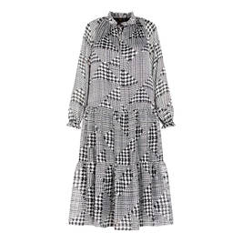 KIRSTEN KROG PATCHWORK HOUNDSTOOTH DRESS BLACK AND WHITE - Plus Size Collection