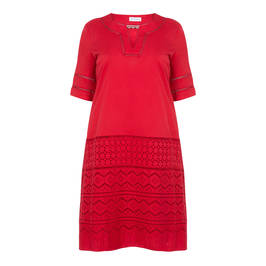 PER TE BY KRIZIA EMBROIDERED COTTON DRESS RED - Plus Size Collection