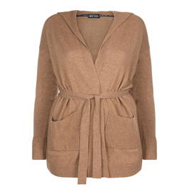 PER TE BY KRIZIA CARAMEL KNITTED HOODY WITH BELT - Plus Size Collection