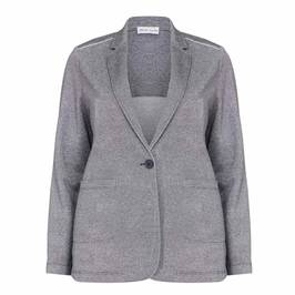 PER TE BY KRIZIA navy lurex punto jersey blazer - Plus Size Collection