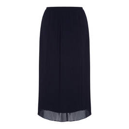 PER TE BY KRIZIA PLEATED GEORGETTE MIDI SKIRT NAVY - Plus Size Collection