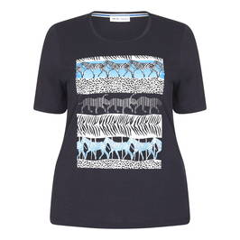 PER TE BY KRIZIA ANIMAL PRINT NAVY T-SHIRT - Plus Size Collection