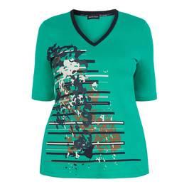 PER TE BY KRIZIA GREEN PRINT TOP V-NECK - Plus Size Collection