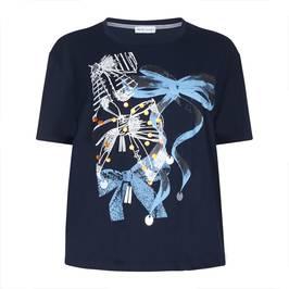 PER TE BY KRIZIA navy bows print jersey TOP - Plus Size Collection