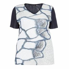 PER TE BY KRIZIA SEQUIN EMBELLISHED MESH TOP WHITE - Plus Size Collection