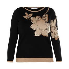 LUISA VIOLA FLORAL INTARSIA SWEATER BLACK - Plus Size Collection