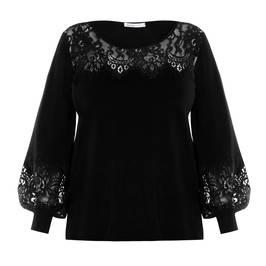LOUISA VIOLA LACE TRIM SWEATER BLACK - Plus Size Collection