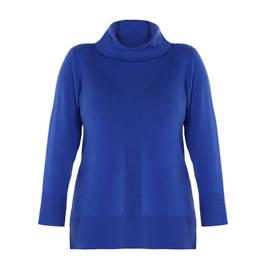 LUISA VIOLA COWL NECK SWEATER BLUE - Plus Size Collection