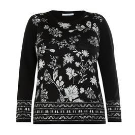 LUISA VIOLA INTARSIA SWEATER BLACK - Plus Size Collection