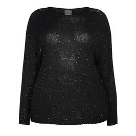 PERSONA BY MARINA RINALDI SEQUIN MOHAIR SWEATER BLACK - Plus Size Collection