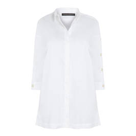 MARINA RINALDI WHITE COTTON POPLIN SHIRT WITH SIDE BUTTONS - Plus Size Collection