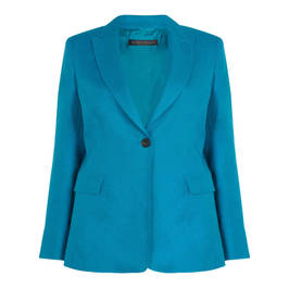 MARINA RINALDI PETROL LINED LINEN BLAZER - Plus Size Collection