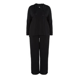 MARINA RINALDI BLACK VISCOSE JERSEY HOODED TRACKSUIT - Plus Size Collection