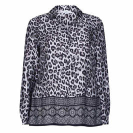 LUISA VIOLA LEOPARD PRINT SHIRT WITH HEM BORDER - Plus Size Collection