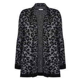 LUISA VIOLA LEOPARD PRINT INTARSIA CARDIGAN - Plus Size Collection