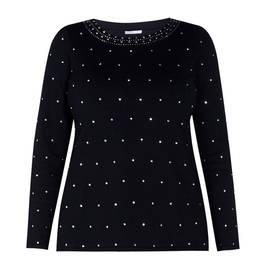 LUISA VIOLA DIAMANTE EMBELLISHED SWEATER BLACK - Plus Size Collection