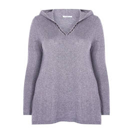 LUISA VIOLA JEWEL EMBELLISHED HOODY GREY  - Plus Size Collection