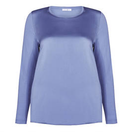 LUISA VIOLA SATIN TOP PALE BLUE - Plus Size Collection