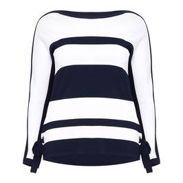 LUISA VIOLA NAVY AND WHITE STRIPE KNITTED TUNIC - Plus Size Collection