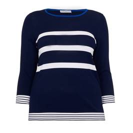 LUISA VIOLA NAVY AND WHITE STRIPE SWEATER - Plus Size Collection