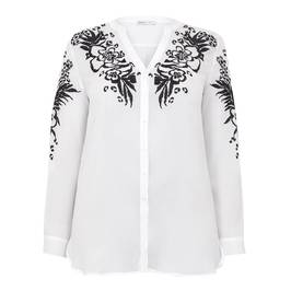 LUISA VIOLA SHIRT WITH EMBROIDERED YOKE AND SLEEVE - Plus Size Collection