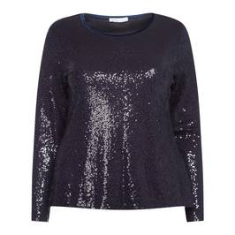 LUISA VIOLA SEQUIN EMBELLISHED TOP NAVY - Plus Size Collection
