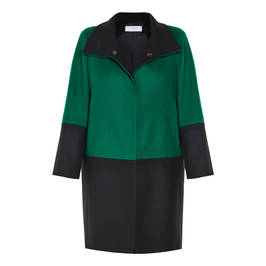 LUISA VIOLA COAT GREEN AND BLACK - Plus Size Collection