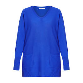 LUISA VIOLA V-NECK SWEATER BLUE - Plus Size Collection