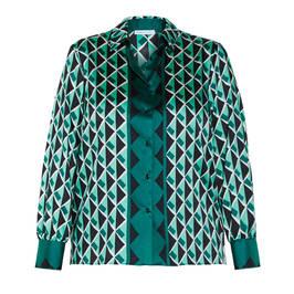 LUISA VIOLA SATIN PRINTED SHIRT GREEN - Plus Size Collection