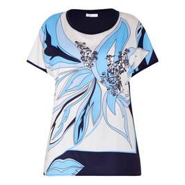 LUISA VIOLA EMBELLISHED FLORAL TOP BLUE - Plus Size Collection