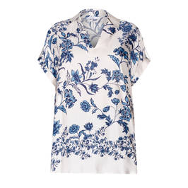 LUISA VIOLA SATIN FLOWER PRINT TUNIC  - Plus Size Collection