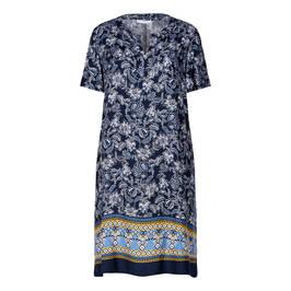 LUISA VIOLA PAISLEY BORDER PRINT DRESS BLUE - Plus Size Collection