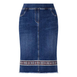 LUISA VIOLA DENIM SKIRT WITH EMBROIDERY  - Plus Size Collection