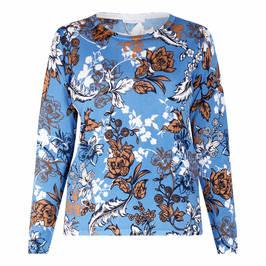 LUISA VIOLA FLORA PRINT SWEATER BLUE - Plus Size Collection