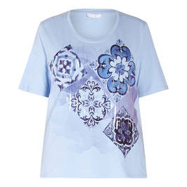 LUISA VIOLA COTTON TILE PRINT TOP  - Plus Size Collection