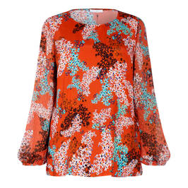LUISA VIOLA FLORAL PRINT TUNIC ORANGE - Plus Size Collection