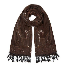 AHMADDY PURE WOOL SHAWL BROWN - Plus Size Collection