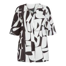 MARINA RINALDI BLACK AND WHITE PURE SILK BLOUSE - Plus Size Collection