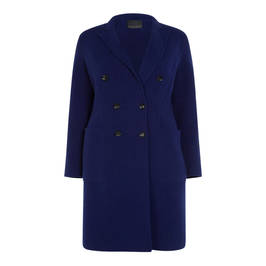 MARINA RINALDI DOUBLE FACE 100% WOOL COAT IN BLUETTE - Plus Size Collection