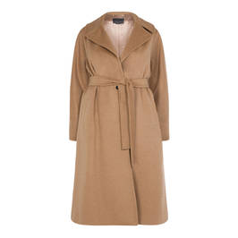 MARINA RINALDI CAMEL WOOL COAT - Plus Size Collection
